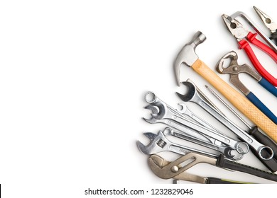 Set of tools. Hand tools for craftsmen isolated on white background.