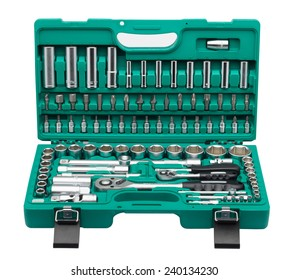 Set of tools isolated on white background (various wrench heads and tips in green plastic case)