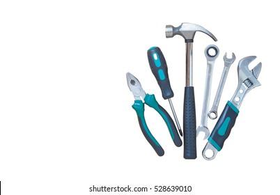 Set von Werkzeugen einzeln auf weißem Hintergrund, Arbeitswerkzeuge für die Industrie.