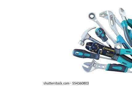Set von Werkzeugen, Viele Werkzeuge einzeln auf weißem Hintergrund.