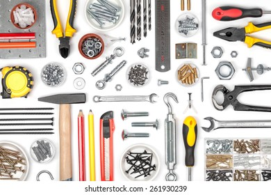 set of tools on white background top view