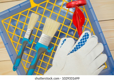 a set of tools for painting a house