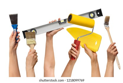 set of the tools for repair in hands, on white background