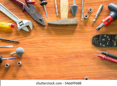 Set of tools,tool box for construction,electronic,building,carpentry with copy space.