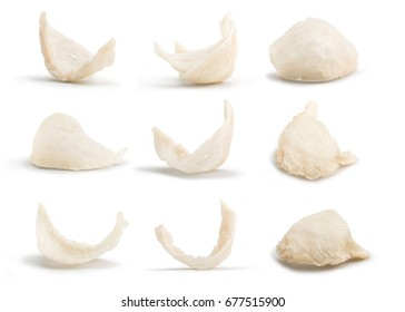 A Set of Top Grade Bird's Nest, A Kind of Chinese Nourishment Isolated on White Background  in Full Depth of Field.
