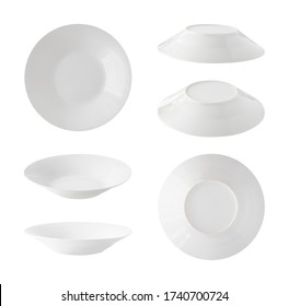 Set of top, side and back views of empty soup plates isolated on white background