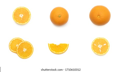 Set of top view close up of cut orange in white background isolated