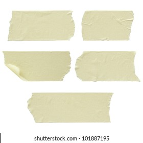Set of torn masking tape isolated on white