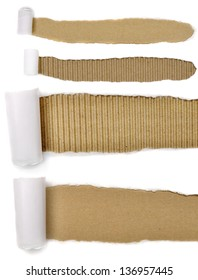 set of torn paper with brown cardboard background