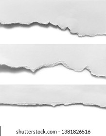 Set of torn paper on white background
