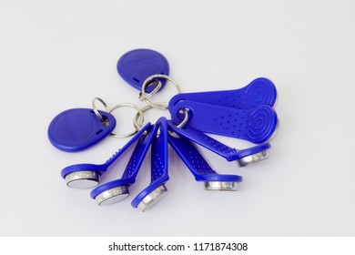 Set of touch memory keys on white background.