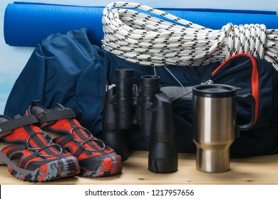 set of tourist and rock climber objects, close-up