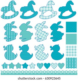 Set with toys - horses, rabbits, hearts and stars, isolated on white background. Newborn boy blue color elements. Design for baby shower, card, invitation, etc. Raster version