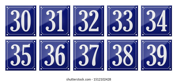Set of traditional blue enamel signs - Numbers 30- 39