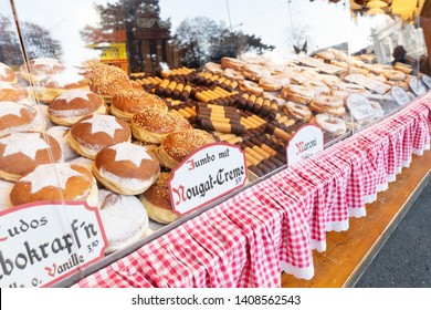 Set of traditional sweet cakes at christmas market stall