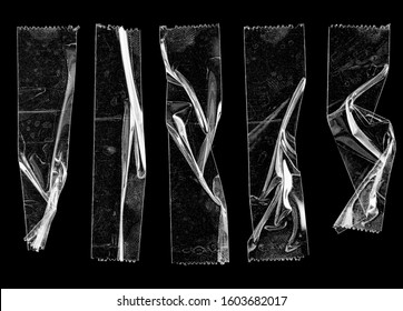 set of transparent adhesive tape or strips isolated on black background, crumpled plastic sticky snips, poster design overlays or elements.