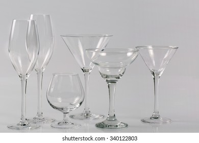 Set of transparent glasses goblets, cocktail glasses collection,