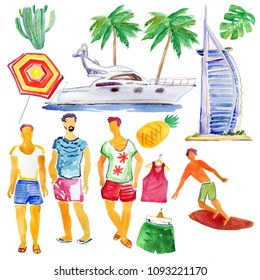 set travel concept summer vacation on the beach, vacation collection, mens fashion set. watercolor illustration.