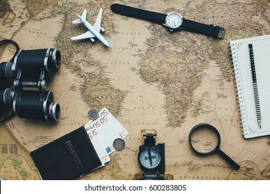 Set for travel on the map background.