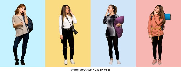 Set of travel woman, photographer, student and in pajamas yawning and covering wide open mouth with hand