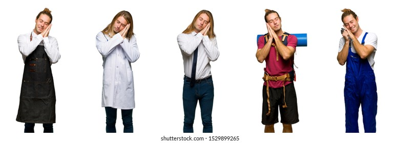 Set of traveler, hiker, doctor, barber and business man making sleep gesture in dorable expression
