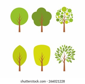 Set of tree icons and illustrations.
