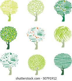 Set of tree. Vector version see in my portfolio.