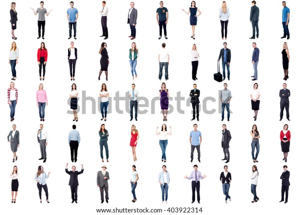 Set of trendy and business people isolated on white background