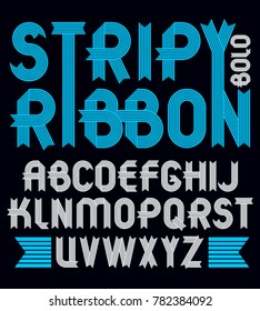 Set of trendy capital alphabet letters isolated. Geometric bold type font, script from a to z can be used for logo creation. Created using stripy ornate, parallel lines.