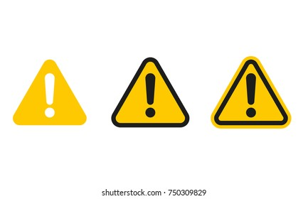 Set of triangle caution icons. Caution sign