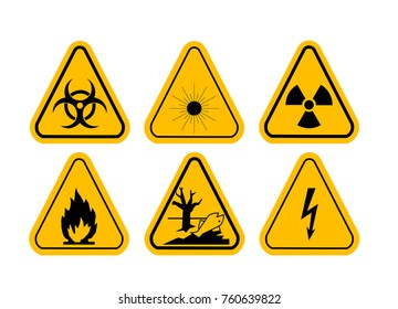 Set of Triangle Yellow Warning Icons. High voltage, toxic, caution, fire, laser radiation, radioactive.