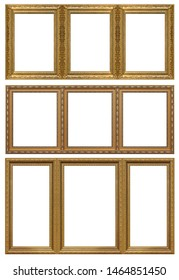 Set of triple golden frames (triptych) for paintings, mirrors or photos isolated on white background