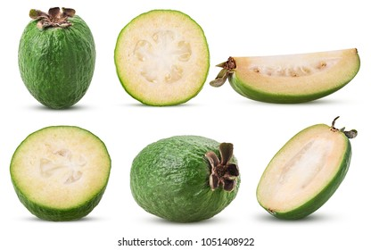Set tropical fruit feijoa whole, cut in half, slice isolated on white background. Clipping Path. Full depth of field.
