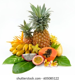 Set of tropical fruits isolated on white