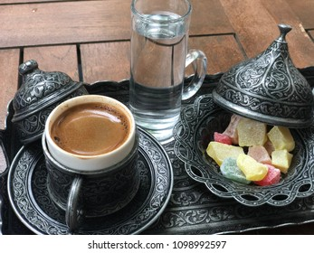 Set of turkish coffe and rahat lokum, served in traditional stile.