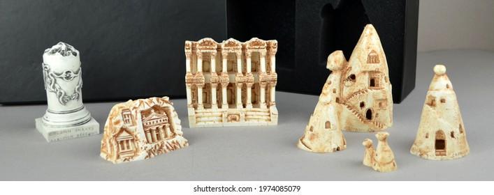 Set of Turkish historical monuments, mini statue sculpture figures. Izmir Bergama Ephesus, Cappadocia, Trabzon Sumela monastery historical and touristic gifts and souvenirs. Turkish souvenirs set.  - Shutterstock ID 1974085079