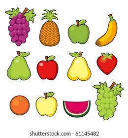 Set of twelve colorful, sweet and tasty juicy fruits. Raster version of vector illustration ID: 61038553