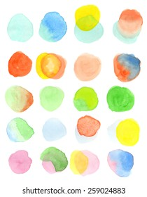 A set of twenty, hand-painted, colorful watercolor circles in pastel tones. Light and airy Springtime feel. White background for easy cutout. Hand drawn using transparent watercolor paint on paper.