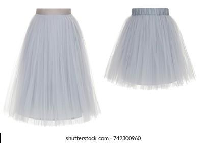 c43fdd0abda8 Set of two beautiful gray skirts of chiffon, short and long, isolated on  white