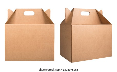 Set of two cardboard boxes isolated on white background. Set of brown cardboard boxes