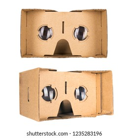 Set of two cardboard virtual reality glasses isolated on a white background