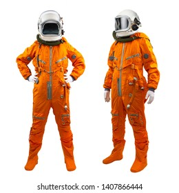 Set of two cosmonauts isolated on a white background. Astronauts wearing space suits with helmets on white background