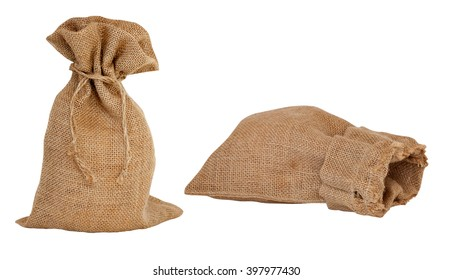 set of two empty canvas bags isolated