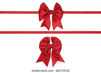 Set of two gift silk red ribbons and bows isolated on white background. Studio shot.