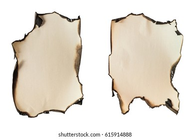 Set of two old burnt paper lists with fire damaged edges isolated on white background. Blank for text or images. Empty copy space.