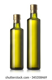 set of two Olive oil bottles on white background