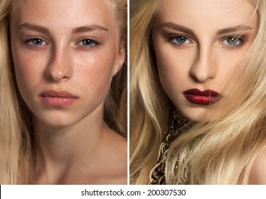 A set of two portraits of the same young woman, one before and the other after putting on make-up