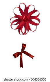 Set of two shiny red silk ribbon bows isolated on white background
