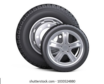 Set of two tires. New car wheels with disk for cars and trucks - front wiev. 3d illustration over white background.