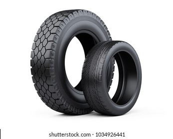 Set of two tires. New car wheels for cars and trucks. 3d illustration over white background.